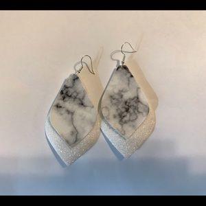 Leather marble earrings